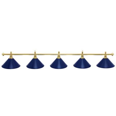 Светильник бильярдный PrestigeGolden 5 плафонов синие плафоны