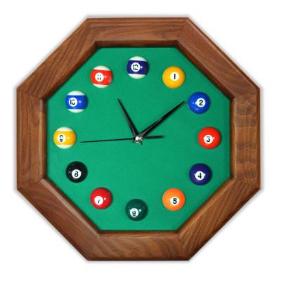 Часы бильярдные FS-8 Green ясень сукно