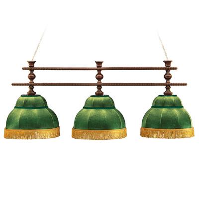 Светильник бильярдный Аристократ 3 зеленых плафона штанга береза