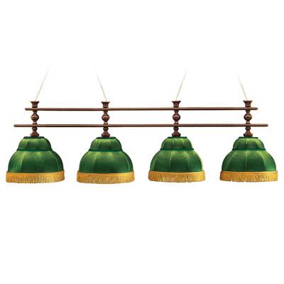 Светильник бильярдный Аристократ 4 зеленых плафона штанга ясень