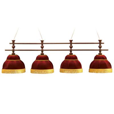 Светильник бильярдный Аристократ 4 красных плафона штанга береза