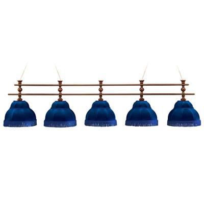 Светильник бильярдный Аристократ 5 синих плафонов штанга береза