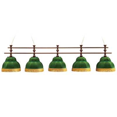 Светильник бильярдный Аристократ 5 зеленых плафонов штанга береза