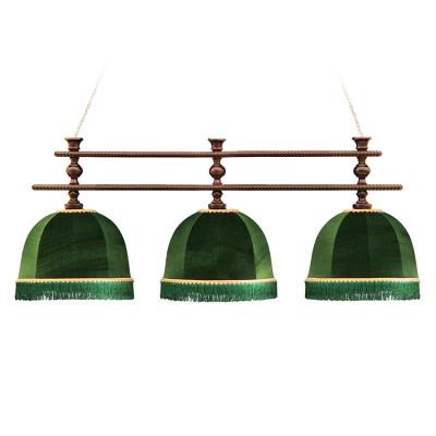 Светильник бильярдный Аристократ-Люкс 3 зеленых плафона штанга ясень