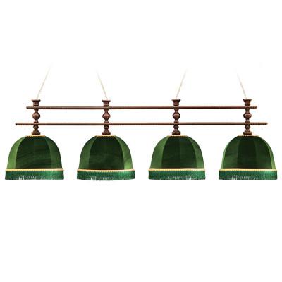 Светильник бильярдный Аристократ-Люкс 4 зеленых плафона штанга ясень