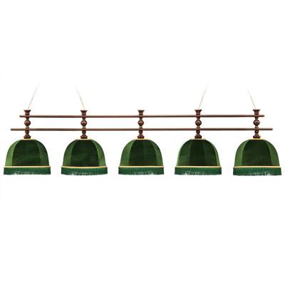 Светильник бильярдный Аристократ-Люкс 5 зеленых плафонов штанга ясень