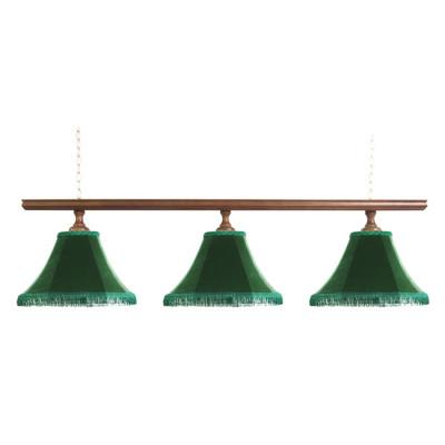 Светильник бильярдный Классика–I 3 зеленых плафона деревянная штанга