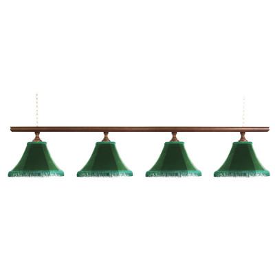 Светильник бильярдный Классика–I 4 зеленых плафона деревянная штанга