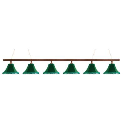 Светильник бильярдныйКлассика–I 6 зеленых плафонов деревянная штанга