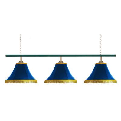 Светильник бильярдный Классика 3 синих плафона металлическая штанга