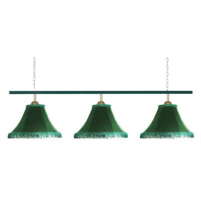 Светильник бильярдный Классика 3 зеленых плафона металлическая штанга