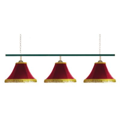 Светильник бильярдный Классика 3 красных плафона металлическая штанга