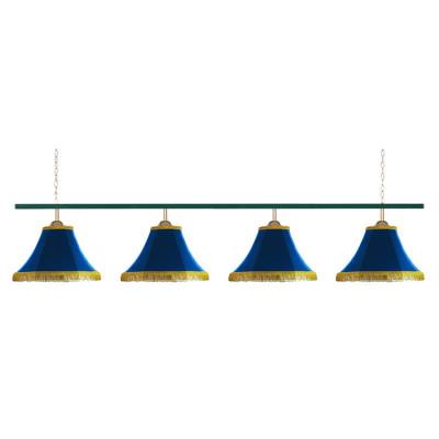Светильник бильярдный Классика 4 синих плафона металлическая штанга