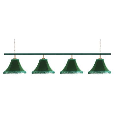 Светильник бильярдный Классика 4 зеленых плафона металлическая штанга