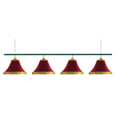Светильник бильярдный Классика 4 красных плафона металлическая штанга
