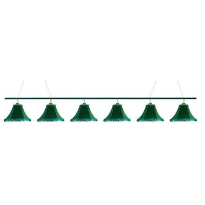 Светильник бильярдный Классика 6 зеленых плафонов металлическая штанга