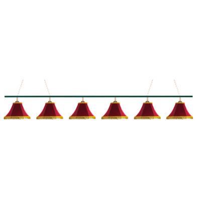 Светильник бильярдный Классика 6 красных плафонов металлическая штанга