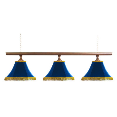 Светильник бильярдный Классика–I 3 синих плафона деревянная штанга