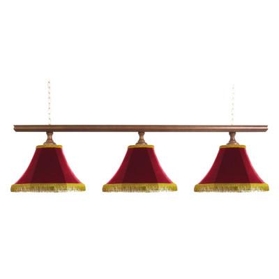 Светильник бильярдный Классика–I 3 красных плафона деревянная штанга