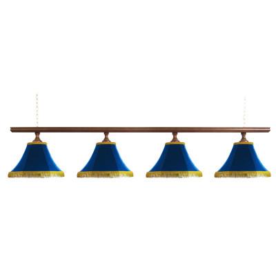 Светильник бильярдный Классика–I 4 синих плафона деревянная штанга