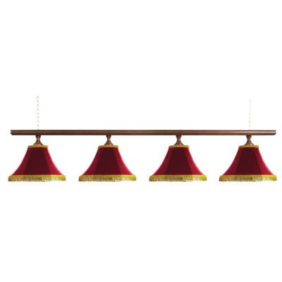 Светильник бильярдный Классика–I 4 красных плафона деревянная штанга