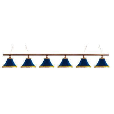 Светильник бильярдныйКлассика–I 6 синих плафонов деревянная штанга