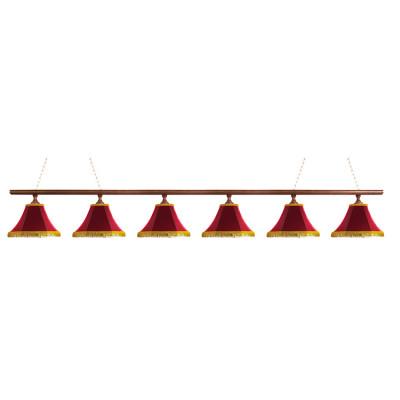 Светильник бильярдныйКлассика–I 6 красных плафонов деревянная штанга