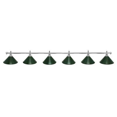Светильник для бильярда Prestige Silver 6 плафонов зеленые плафоны