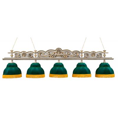 Светильник бильярдный РенессансГранж 5 плафонов зеленые плафоны