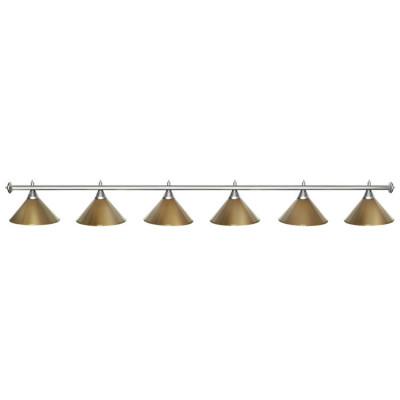 Светильник бильярдный StarGolden 6 плафонов серебряная штанга