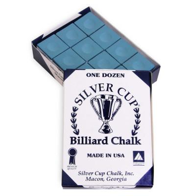 Мел бильярдный Silver Cup Powder Blue 12шт