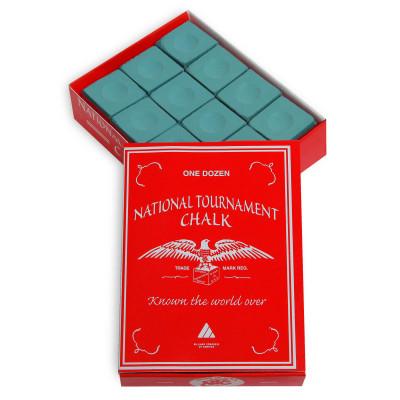Мел бильярдный National Tournament Green 12шт