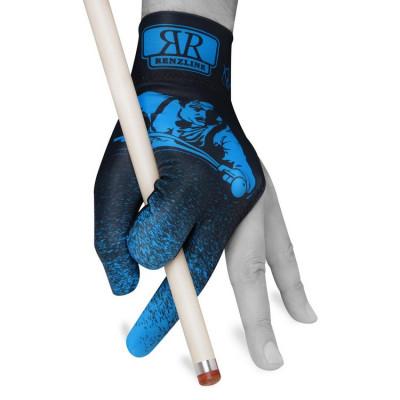 Перчатка для бильярда Renzline Player Velcro черная/голубая безразмерная