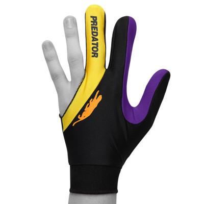 Перчатка для бильярда Predator'sHunter Velcro Multicolor черная/желтая/фиолетовая безразмерная