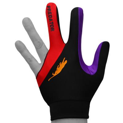 Перчатка для бильярда PredatorsHunter Velcro Multicolor черная/красная/фиолетовая безразмерная