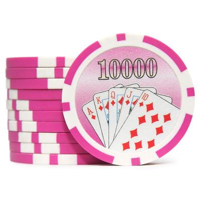 Фишки для покера Cards 10000 розовые  40 мм 14 г 25 шт