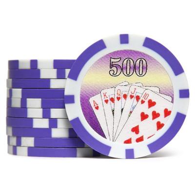 Фишки для покера Cards 500 фиолетовые  40 мм 14 г 25 шт