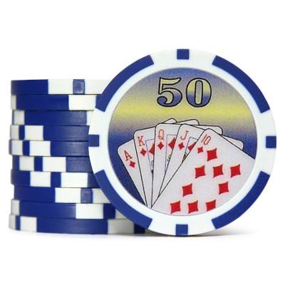 Фишки для покера Cards 50 синяя 40 мм 14 г 25 шт