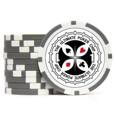 Фишки для покера Tournament Pro 1 с голографическими наклейками серые  40 мм 14 г 25 шт