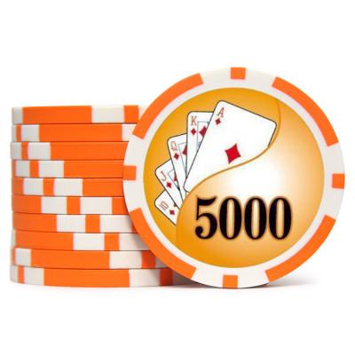 Фишки для покера Holdem Poker 5000 с голографическими наклейками оранжевые  40 мм 14 г 25 шт