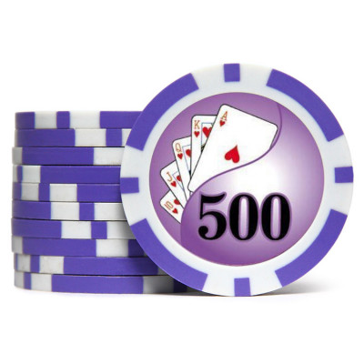 Фишки для покера Holdem Poker 500 с голографическими наклейками фиолетовые  40 мм 14 г 25 шт