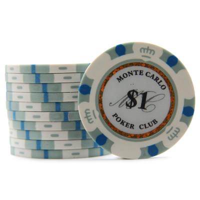 Фишки для покера Monte Carlo 1 серые 40 мм 13 г 25 шт