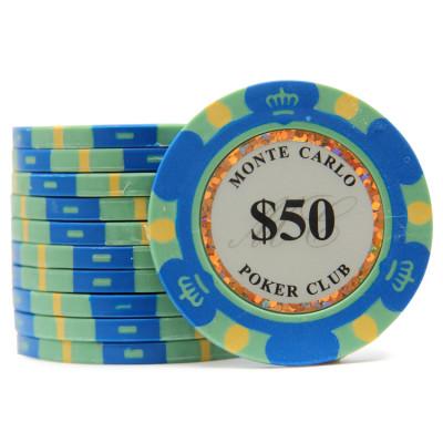 Фишки для покера Monte Carlo 50 синие 40 мм 13 г 25 шт