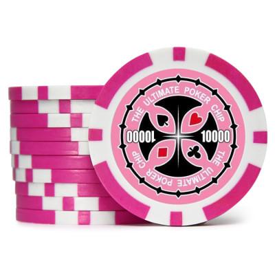 Фишки для покера Tournament Pro 10000 с голографическими наклейками розовые  40 мм 14 г 25 шт