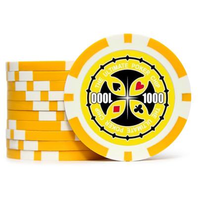Фишки для покера Tournament Pro 1000 с голографическими наклейками желтые  40 мм 14 г 25 шт
