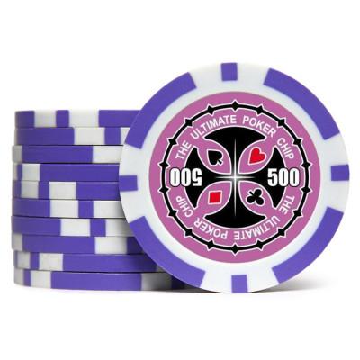 Фишки для покера Tournament Pro 500 с голографическими наклейками фиолетовые  40 мм 14 г 25 шт