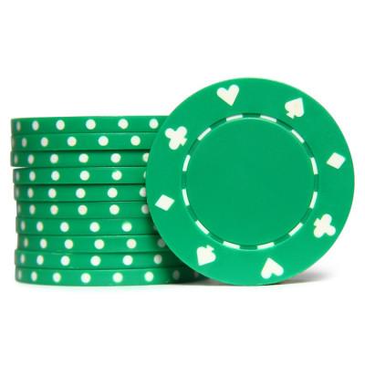 Фишки для покера Tournament зеленые 40 мм 11,5 г 25 шт
