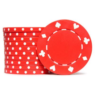 Фишки для покера Tournament красные 40 мм 11,5 г 25 шт
